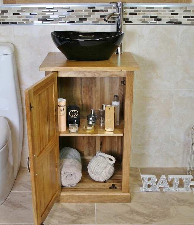 Oak Bathroom Vanity Unit & Oval Black Ceramic Basin & Tap Set - Showing Unit Storage