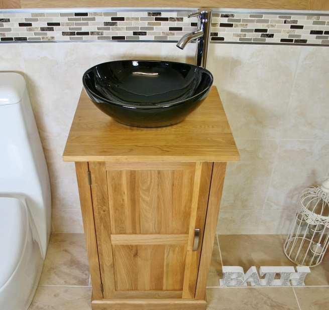 Oak Vanity Unit with Oval Black Ceramic Basin & Chrome Tap Set - Above View