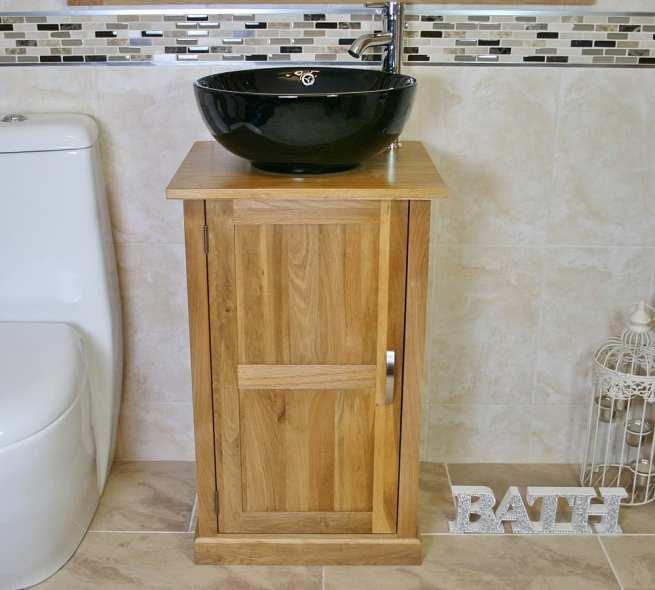 Oak Top Vanity Unit with Round Black Ceramic Basin and Tap