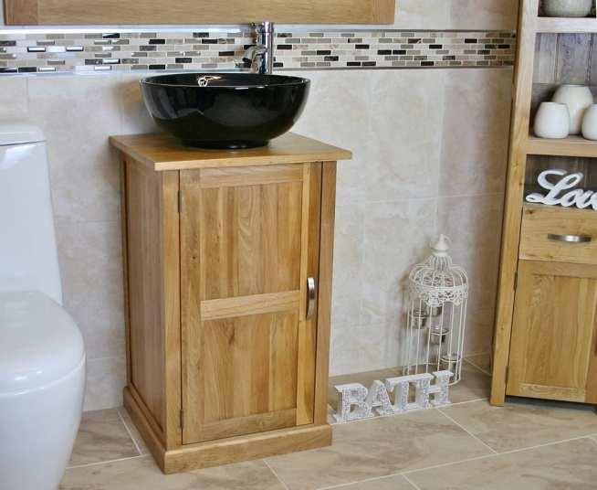 Oak Top Vanity Unit with Round Black Ceramic Basin & Tap - Side View