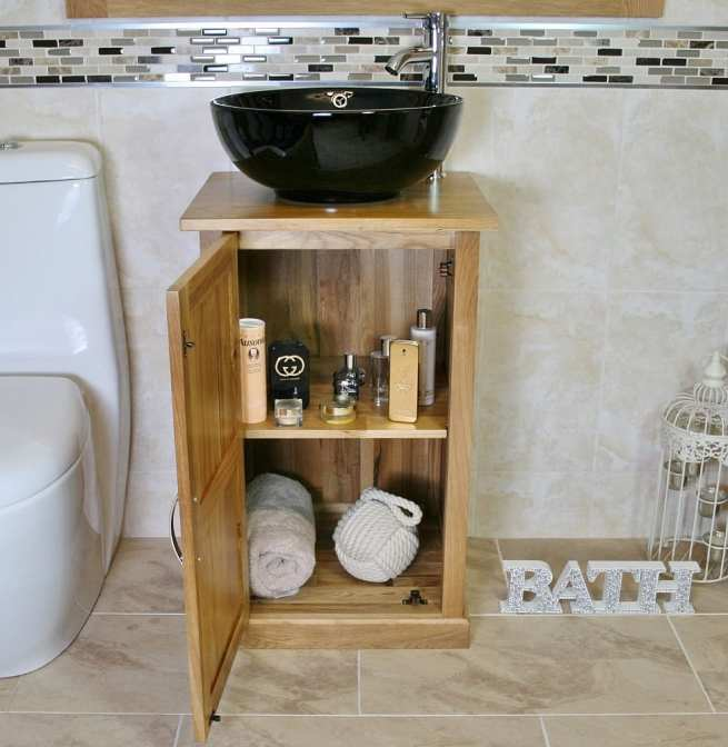Oak Top Vanity Unit with Round Black Ceramic Basin and Tap - Front View Showing Storage