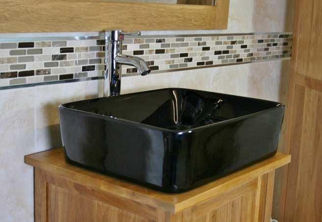Oak Top Bathroom Vanity Unit with Rectangle Black Ceramic Basin & Tap - Close Up Side View