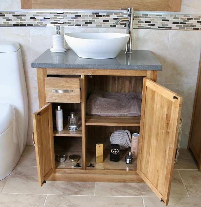 Open Grey Quartz Top Vanity Unit with White Ceramic Oval Basin Showing Storage