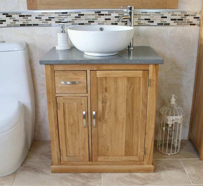 White Round Curved Ceramic Bathroom Basin on Grey Quartz Top Vanity Unit