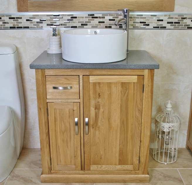 Grey Quartz Top Vanity Unit with White Round Ceramic Bathroom Basin
