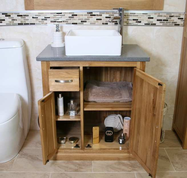 Open Grey Quartz Top Vanity Unit & Square White Ceramic Basin - Showing Storage