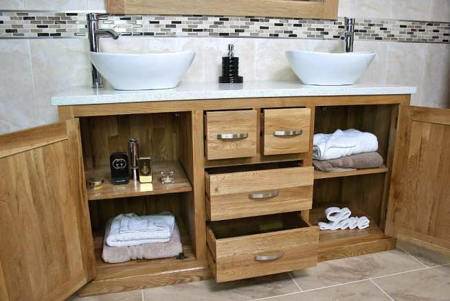 White Quartz Top, Double Basin, Oak Vanity Unit - Showing Lots of Storage