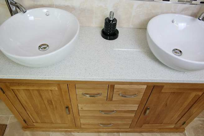 Above View of Round White Ceramic Basins on White Quartz Top, Oak Bathroom Vanity