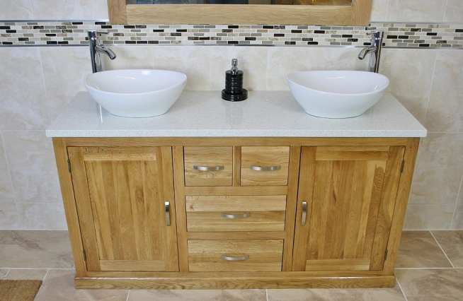 White Quartz Top Double Basin Oak Vanity Unit