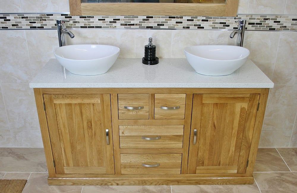 Large Oak Vanity Unit With White Quartz Top Two Ceramic Basins