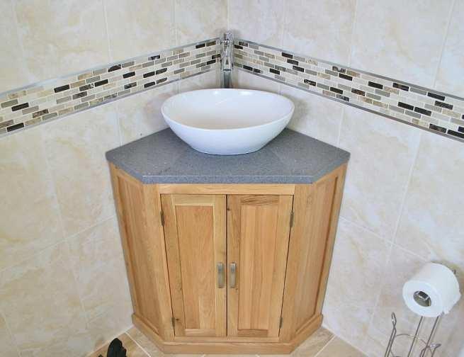 Corner Vanity Unit with Grey Quartz Top and Oval White Ceramic Wash Basin