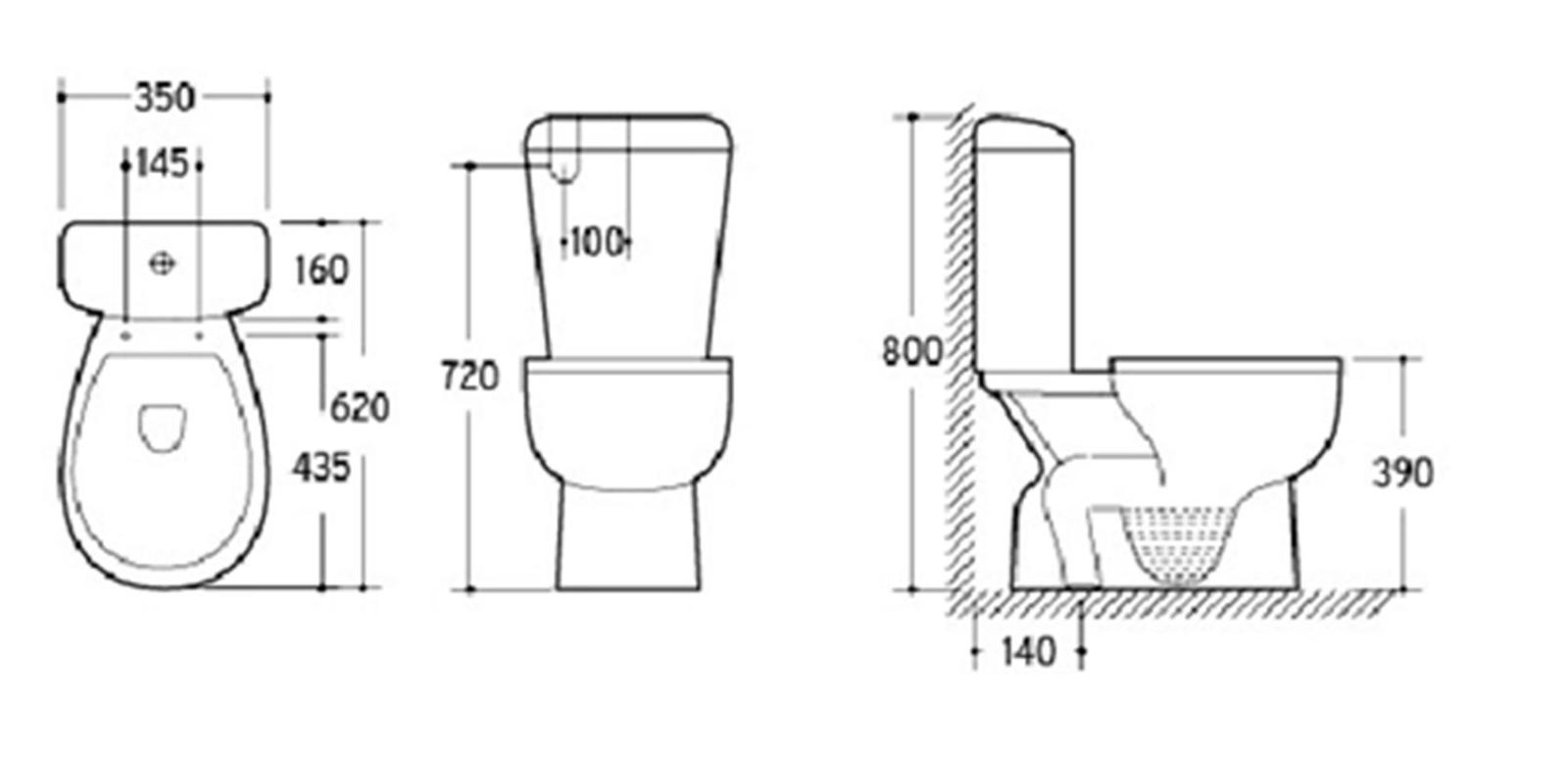 S Trap Close Coupled Toilet Suite Easyclean Oval Base