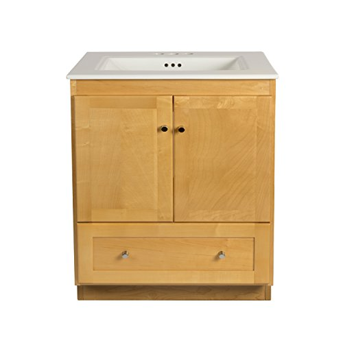 RONBOW Shaker 30 Inch Bathroom Vanity Set In Maple, Wood Cabinet With Two  Wood Doors And Bottom Drawer, Ceramic Sinktop In White 080830 3 M01_Kit_1