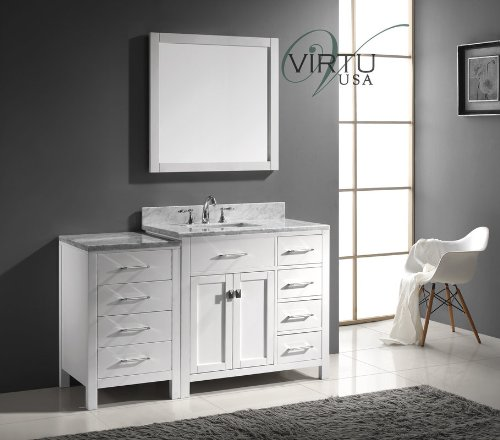 57 Inch Bathroom Vanity Top: Virtu USA MS-2157R-WMSQ-WH Transitional 57-Inch Single