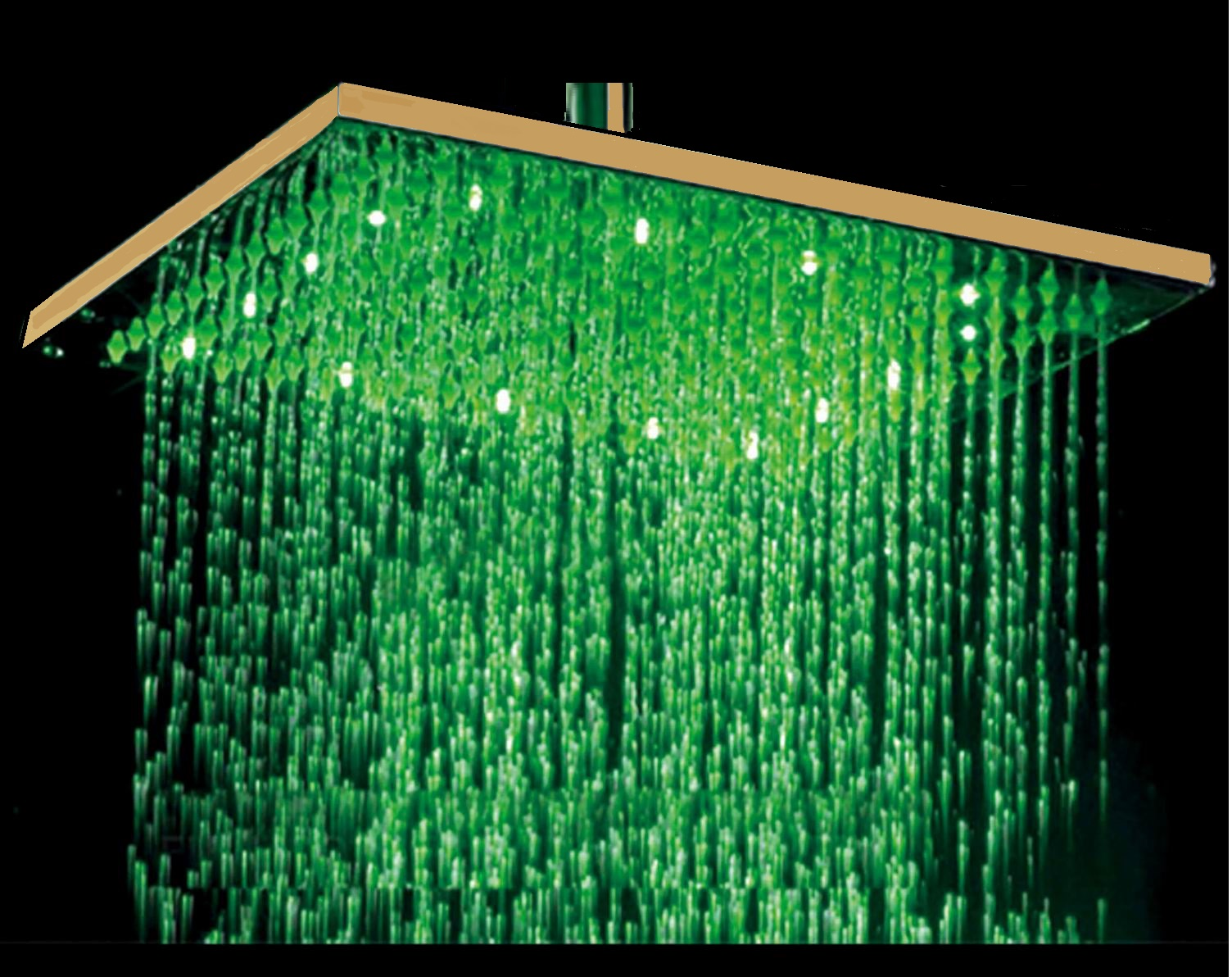 12 Gold Tone Round Color Changing Led Rain Shower Head