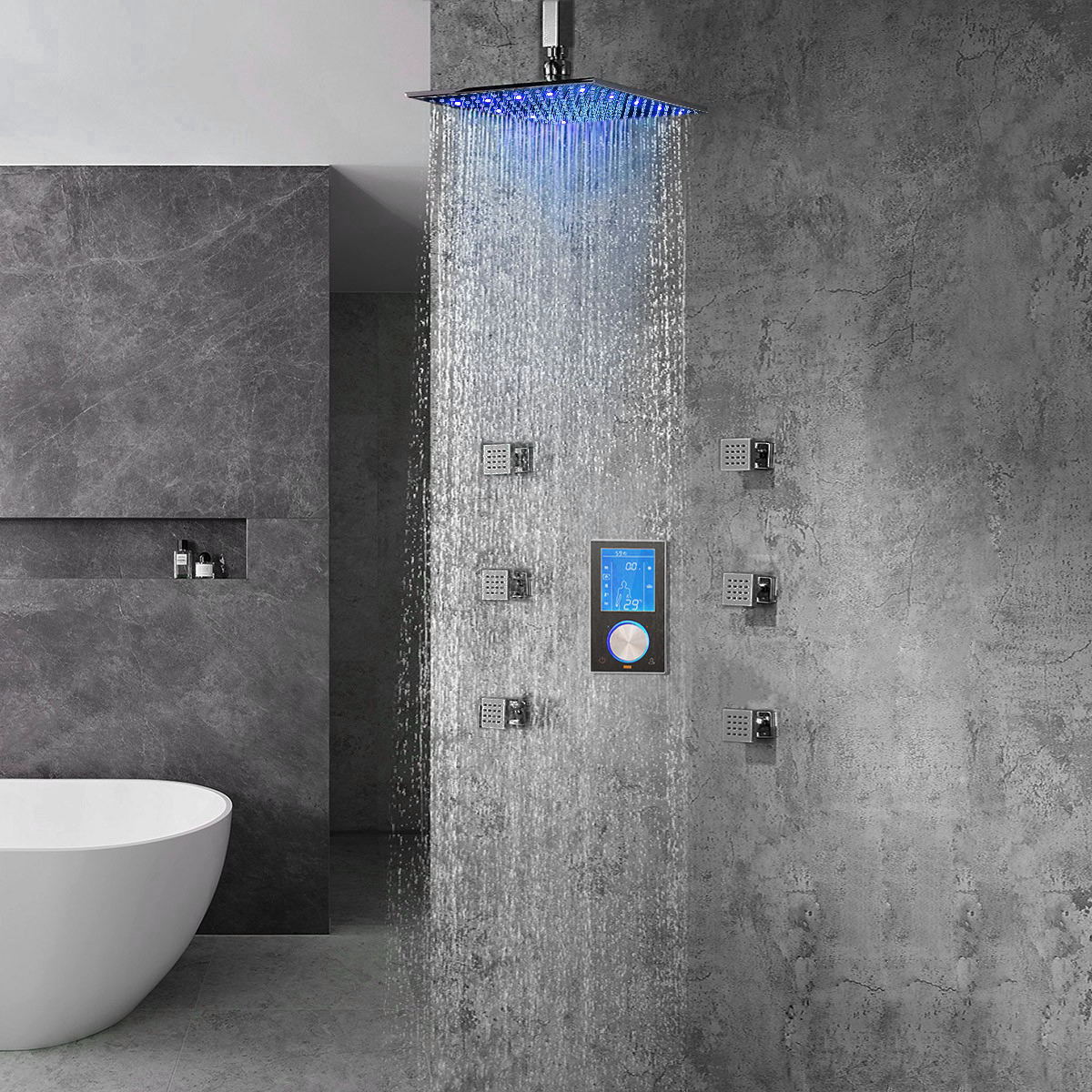 Romo Solid Brass Color Changing Led Rain Shower Head With Digital Mixer And 360 Adjustable Body Jets