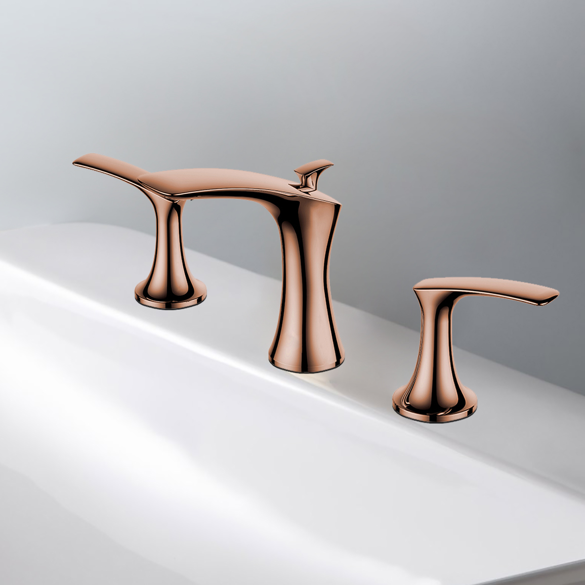 lumina solid brass luxurious 8 inch widespread bathroom faucet in rose gold finish