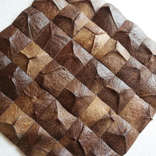bathselect natural coconut shell brown mosaic tiles