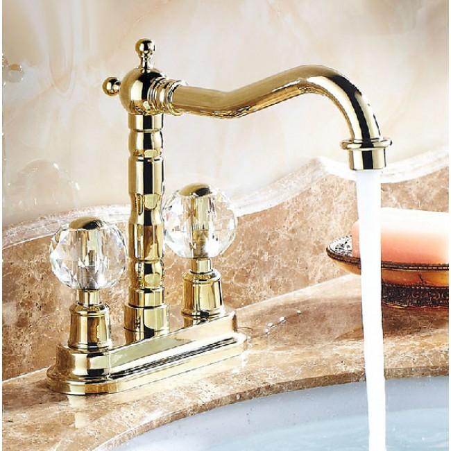 bathselect luna crystal dual handle long neck faucet