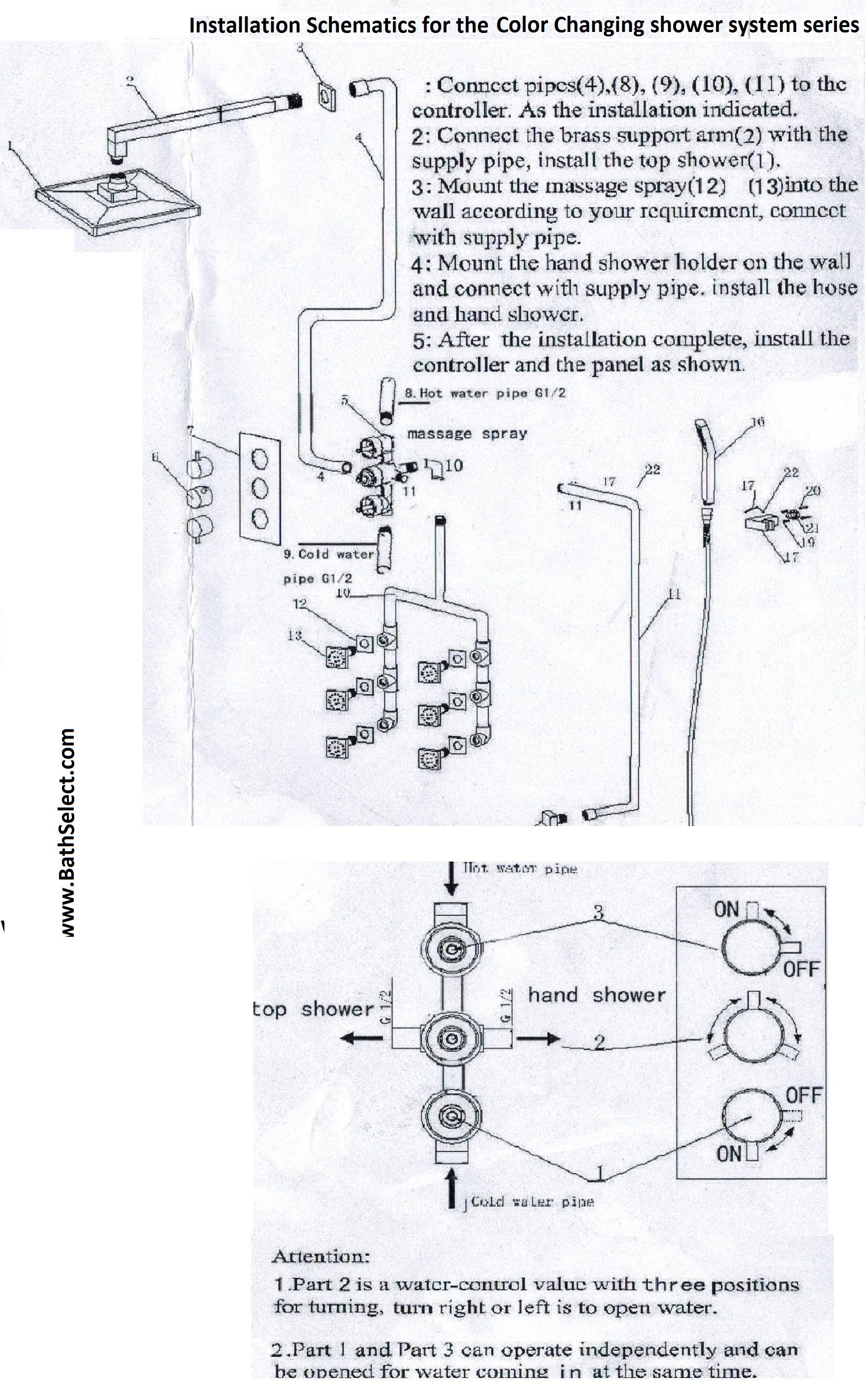 Installations Guide For Temp Sensor Color Changing Shower