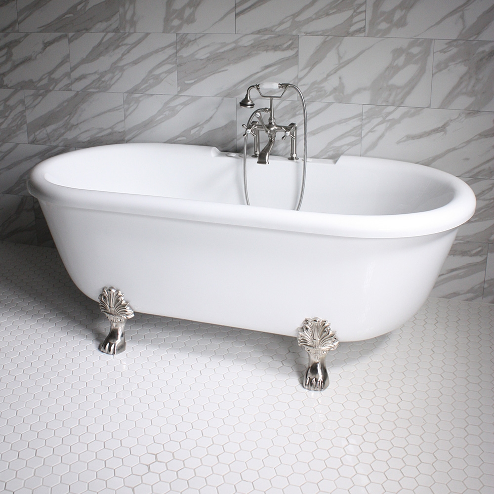 SS75W 75 SanSiro WATER Jetted Double Ended Clawfoot Tub