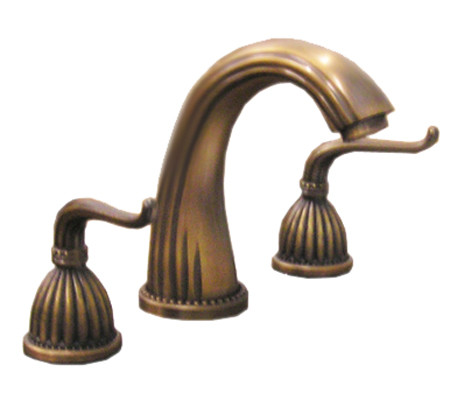 antique brass three piece faucet 8-inch spread