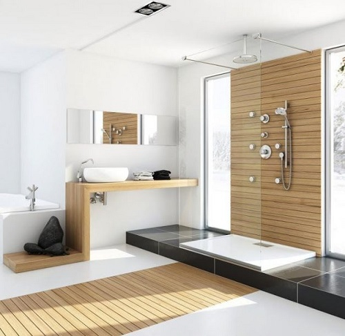salle de bain avec marche
