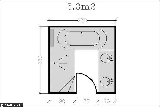 Plan De Salle De Bain Avec Douche Baignoire D Angle