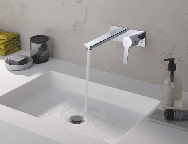 robinet lavabo couleur mural grohe lineare taille l