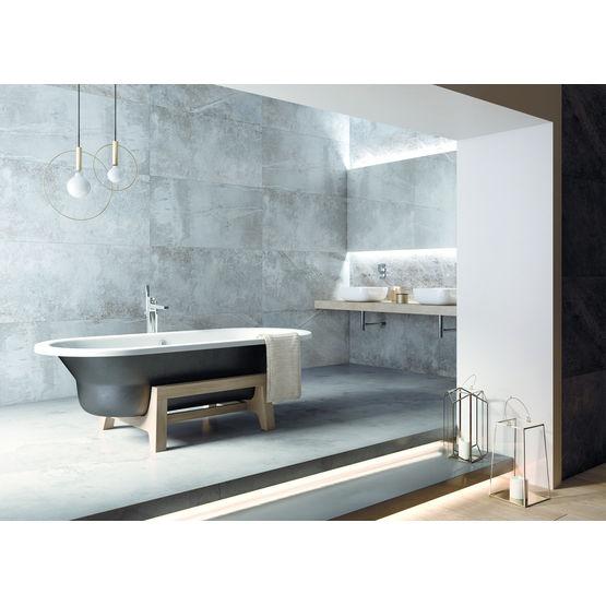 baignoire en acier emaille vitrifie sur support bois art plus