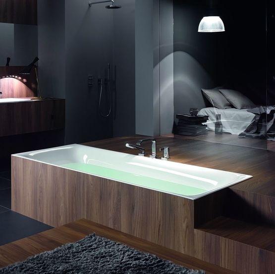 baignoire encastrable en ilot aux rebords ultra fins en acier titane vitrifie bettelux