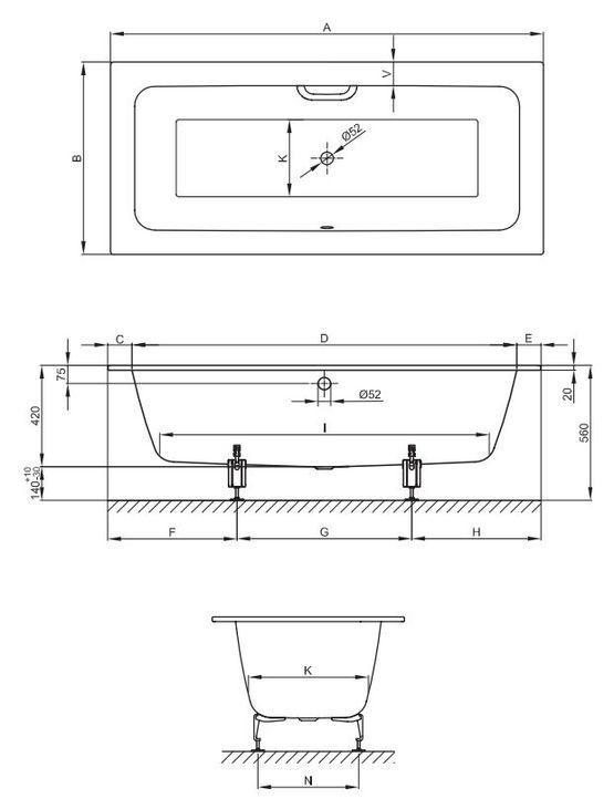 baignoire rectangulaire a encastrer acier titane vitrifie 5 dimensions betteone