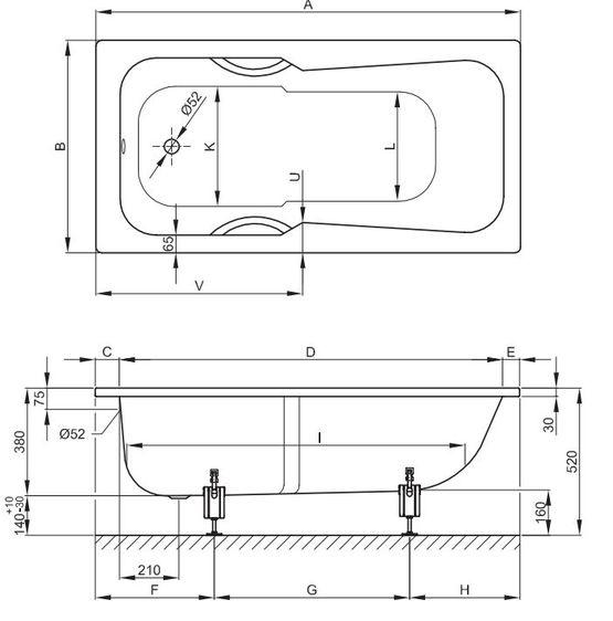 baignoire rectangulaire a encastrer acier titane vitrifie 7 dimensions betteset