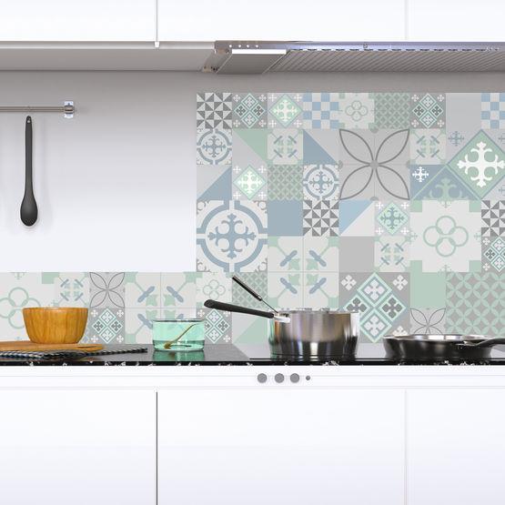 credence de cuisine en alu composite prete a poser carreaux de ciment plusieurs modeles disponibles