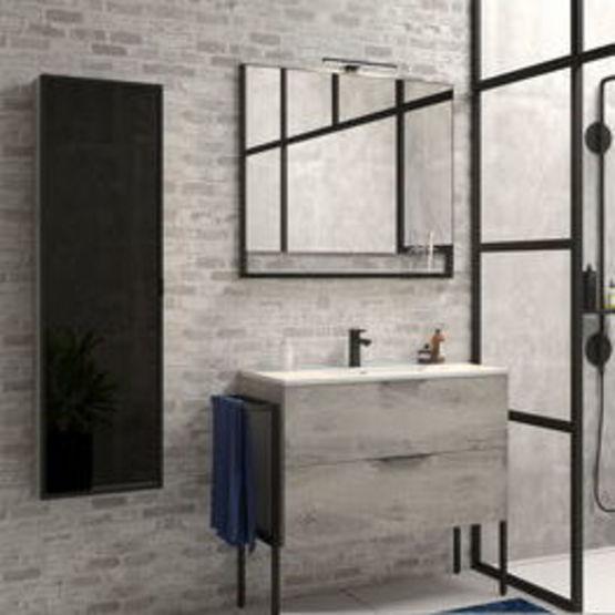 54hs29g2f09n2 Meuble Salle De Bain Fabrik A Poser Au Sol Avec Vasque Miroir Et Eclairage Led Batiproduits