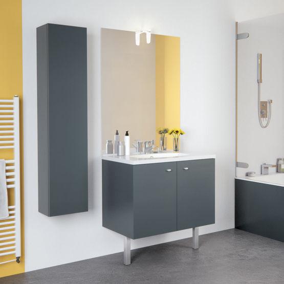 Meuble Vasque En Quatre Longueurs Avec Miroir Et Applique Led Teo Portes Chene Vert