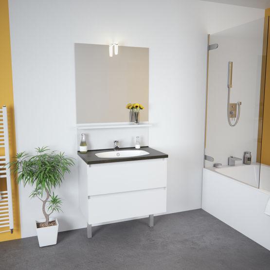 Teo 2 Tiroirs Meuble Vasque Salle De Bain 2 Tiroirs Avec Miroir Et Applique Led Batiproduits