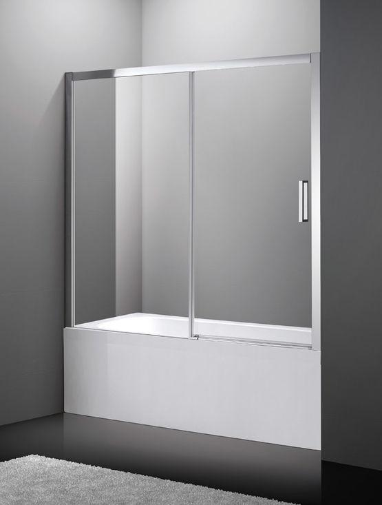 pare baignoire fixe et coulissant verre transparent et profil aluminium aktual