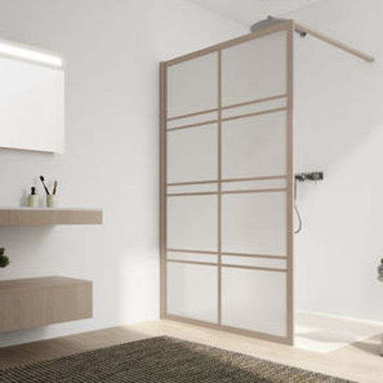paroi de douche fixe verre opaque traite 4 mm et barrettes exterieures en relief japandi