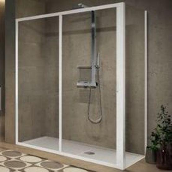 porte de douche coulissante en verre securit transparent lunes2 0 2p