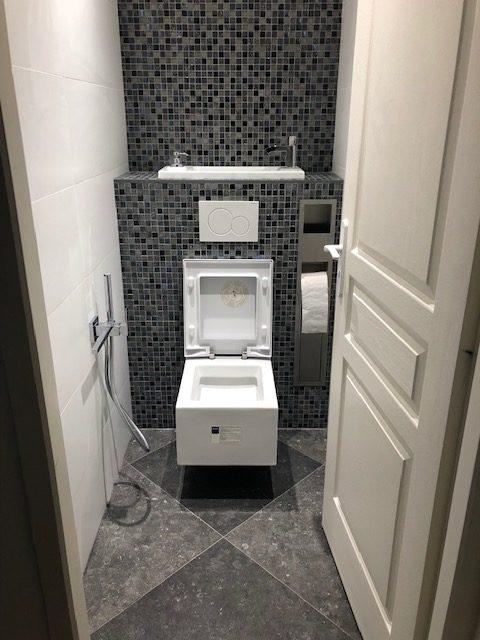 WC suspendu renovation avant après toilettes maison 94