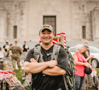 William Saint at the Blue Star Mothers of Louisiana march from LSU to the state capitol where 10,000 flags were planted in memory of fallen soldiers. Photo by Natalie S. Miller Photography.
