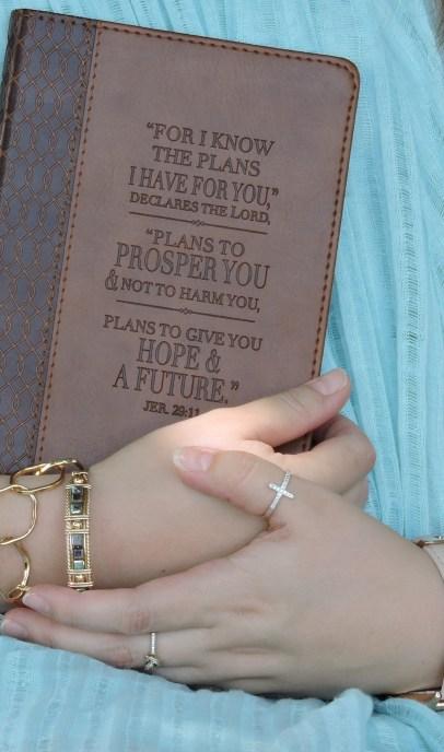 Stein holding her journal.