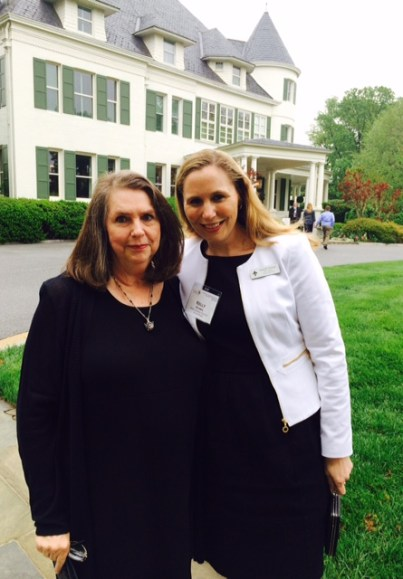 Kelly Stomps is pictured with her mother in front of Vice Presitdent Biden's house during the State Teachers of the Year Washington trip.