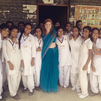 Ter Haar with her students at Lady Irwin Senior Secondary School in New Delhi, India.