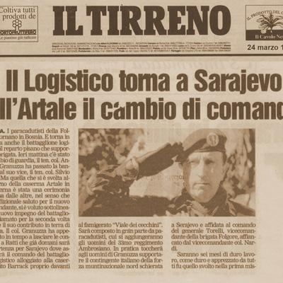 24 marzo 1999 Il logistico torna a Sarajevo all' Artale il cambio di comando