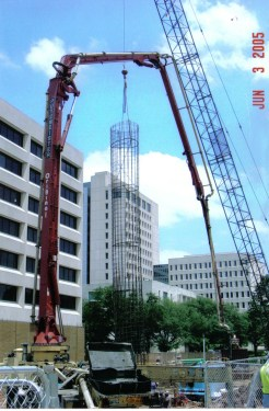 """Setting 78"""" X 115' Cage at Medical Center: Houston, TX"""