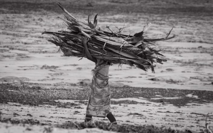 woman carrying palm fronds