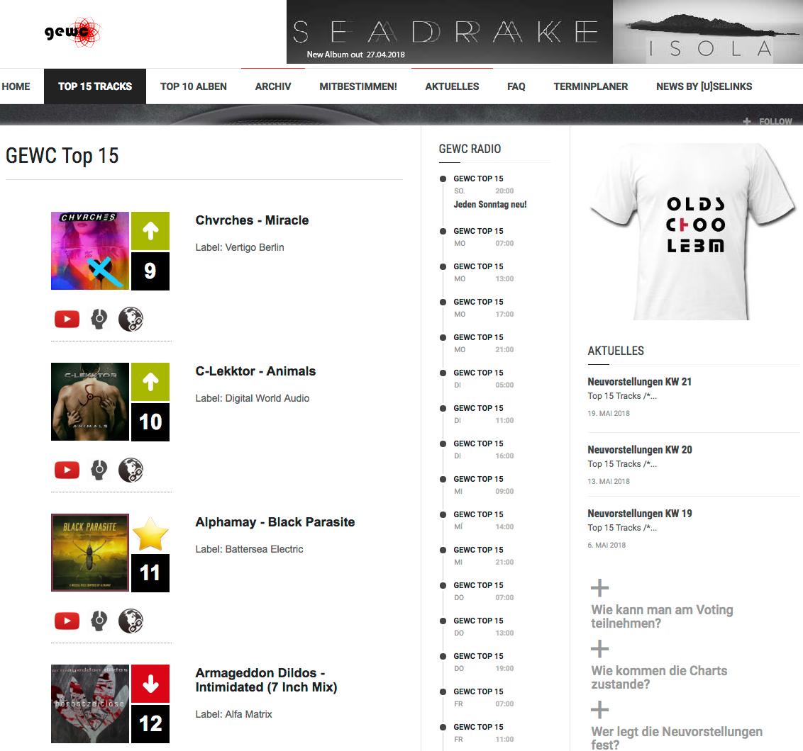 """Alphamay """"Black Parasite"""" steigt in die GEWC Top 15 Charts ein"""