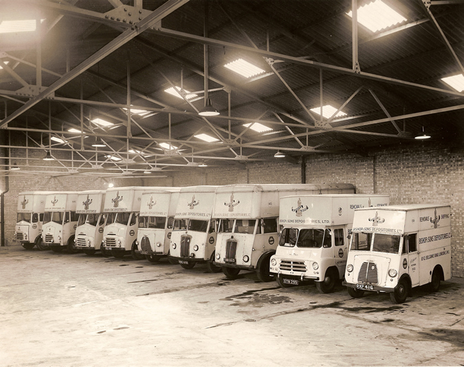 Bishop's Move vans in the 1950s at their old Clapham Garage built on the Clapham High School for Girls site